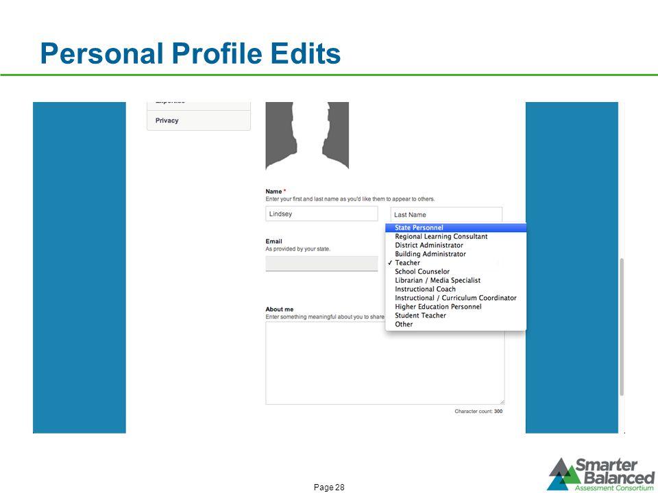 Personal Profile Edits Page 28