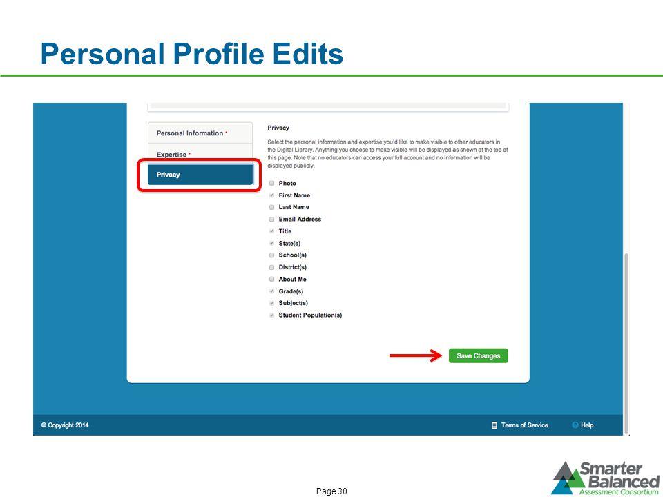 Personal Profile Edits Page 30