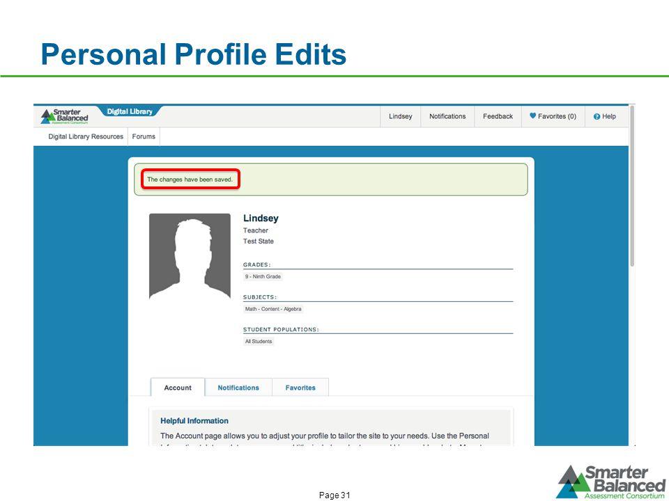 Personal Profile Edits Page 31