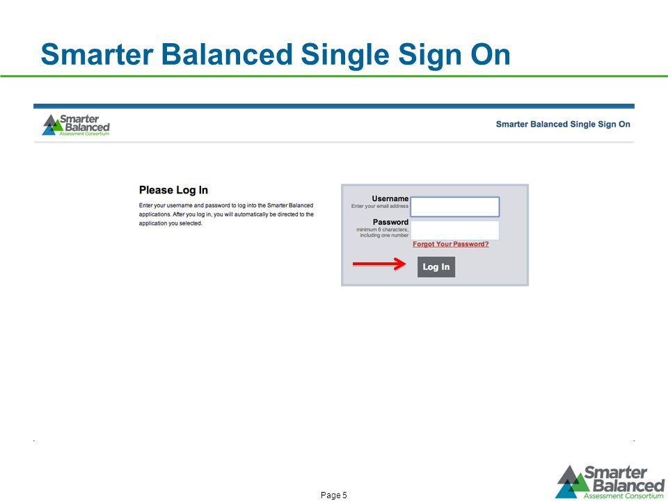 Smarter Balanced Single Sign On Page 5