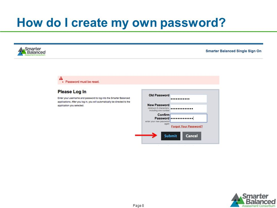 How do I create my own password Page 8