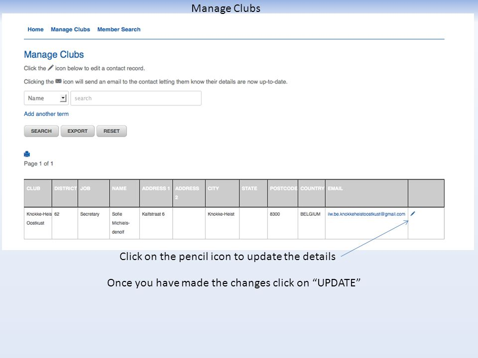 Manage Clubs Click on the pencil icon to update the details Once you have made the changes click on UPDATE