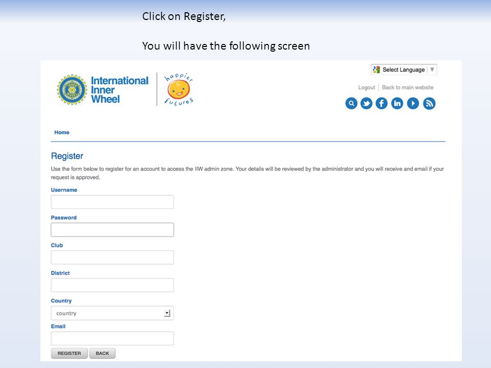 Click on Register, You will have the following screen