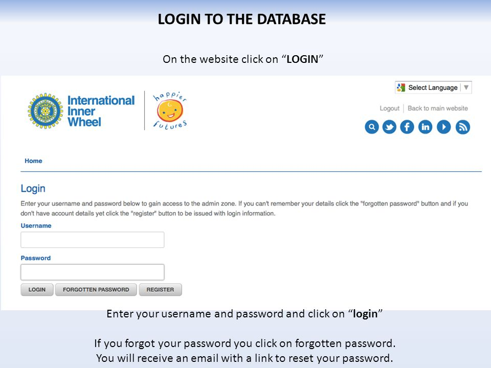 "On the website click on ""LOGIN"" LOGIN TO THE DATABASE Enter your username and password and click on ""login"" If you forgot your password you click on f"