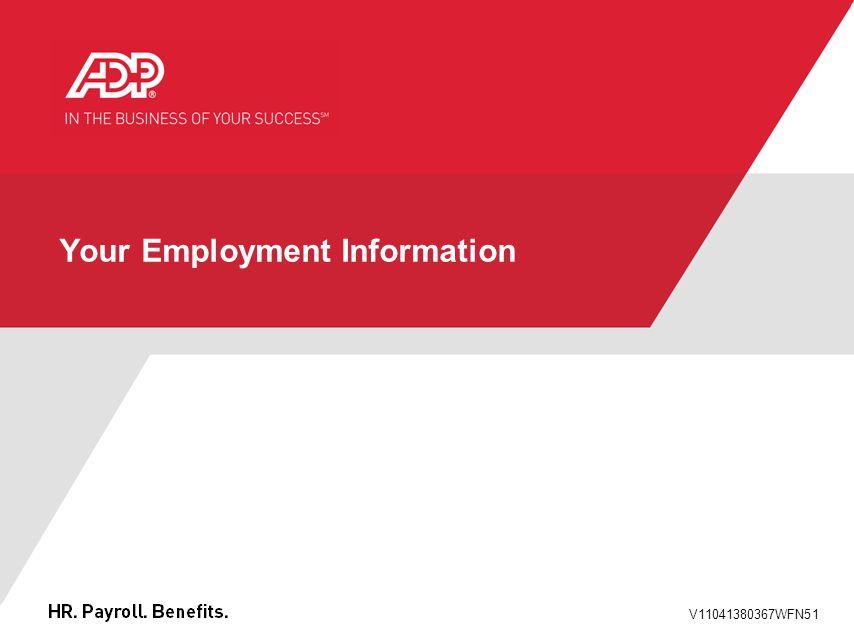 V11041380367WFN51 Your Employment Information