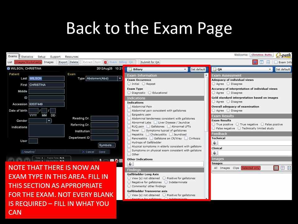 Back to the Exam Page NOTE THAT THERE IS NOW AN EXAM TYPE IN THIS AREA.