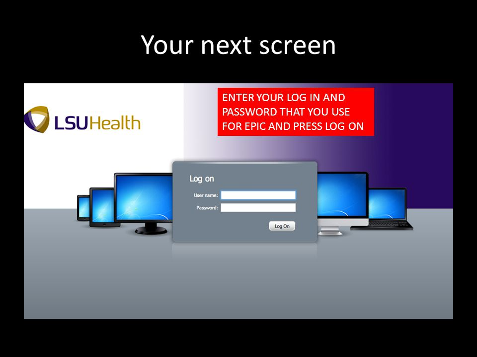Your next screen ENTER YOUR LOG IN AND PASSWORD THAT YOU USE FOR EPIC AND PRESS LOG ON