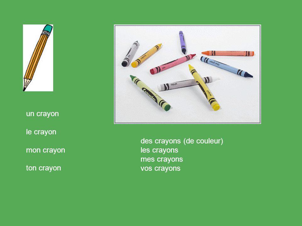 un crayon le crayon mon crayon ton crayon des crayons (de couleur) les crayons mes crayons vos crayons