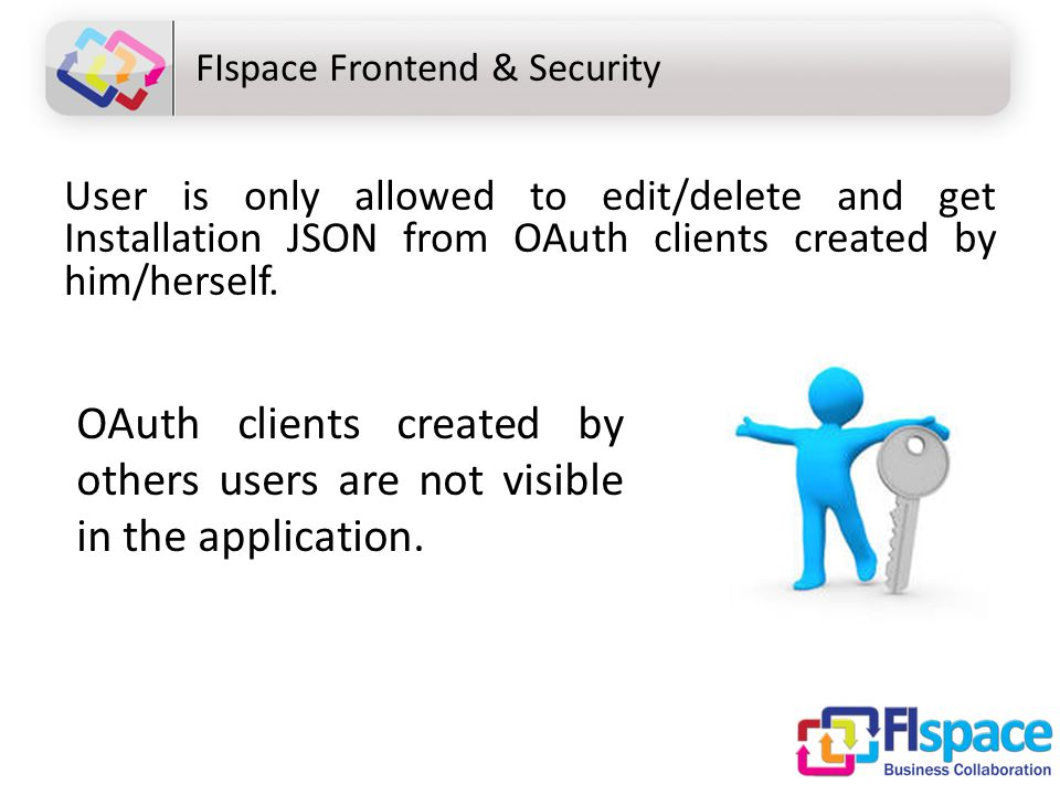FIspace Frontend & Security User is only allowed to edit/delete and get Installation JSON from OAuth clients created by him/herself.
