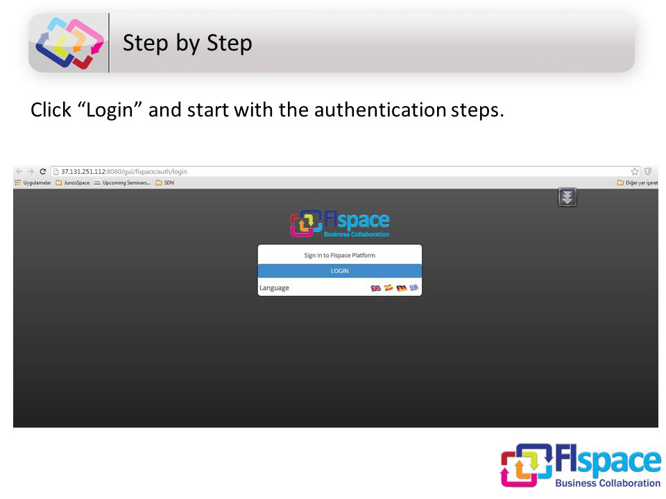 Step by Step Click Login and start with the authentication steps.