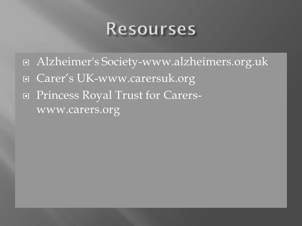  Alzheimer s Society-www.alzheimers.org.uk  Carer's UK-www.carersuk.org  Princess Royal Trust for Carers- www.carers.org