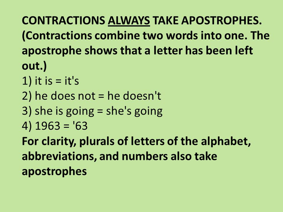 CONTRACTIONS ALWAYS TAKE APOSTROPHES. (Contractions combine two words into one.