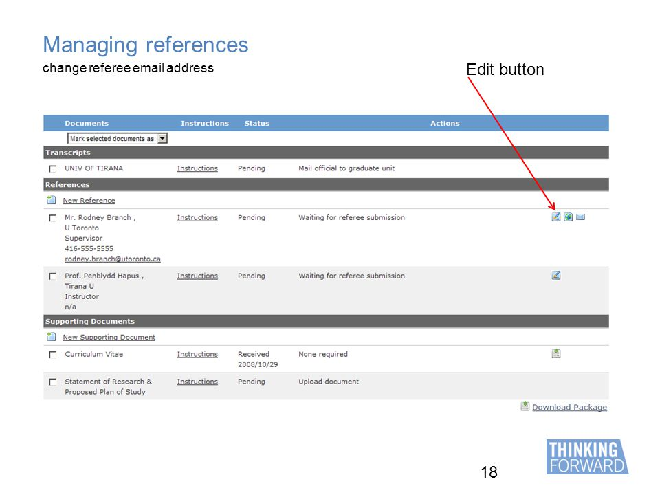 18 Managing references Edit button change referee email address