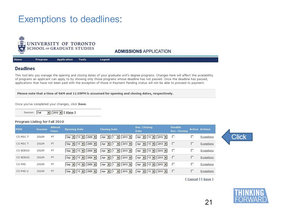 21 Exemptions to deadlines: Click