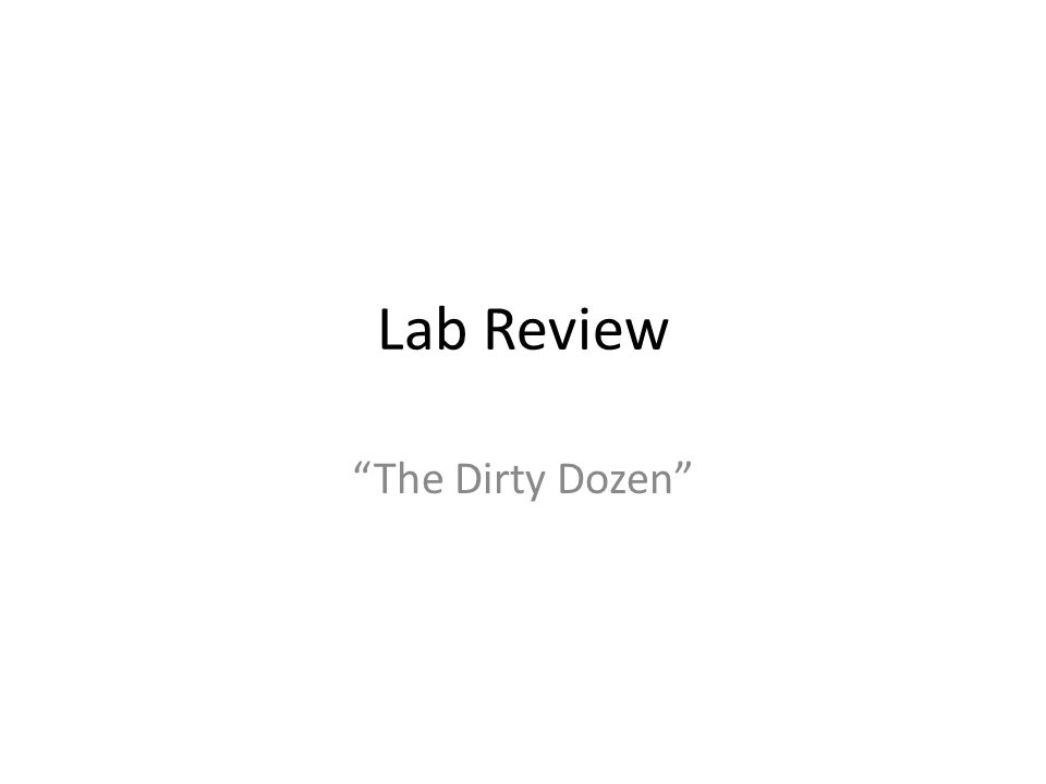 """Lab Review """"The Dirty Dozen"""""""