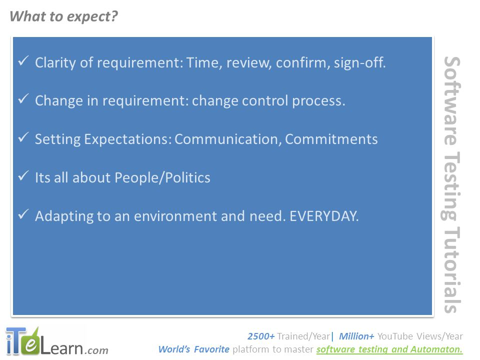.com Software Testing Tutorials Clarity of requirement: Time, review, confirm, sign-off.