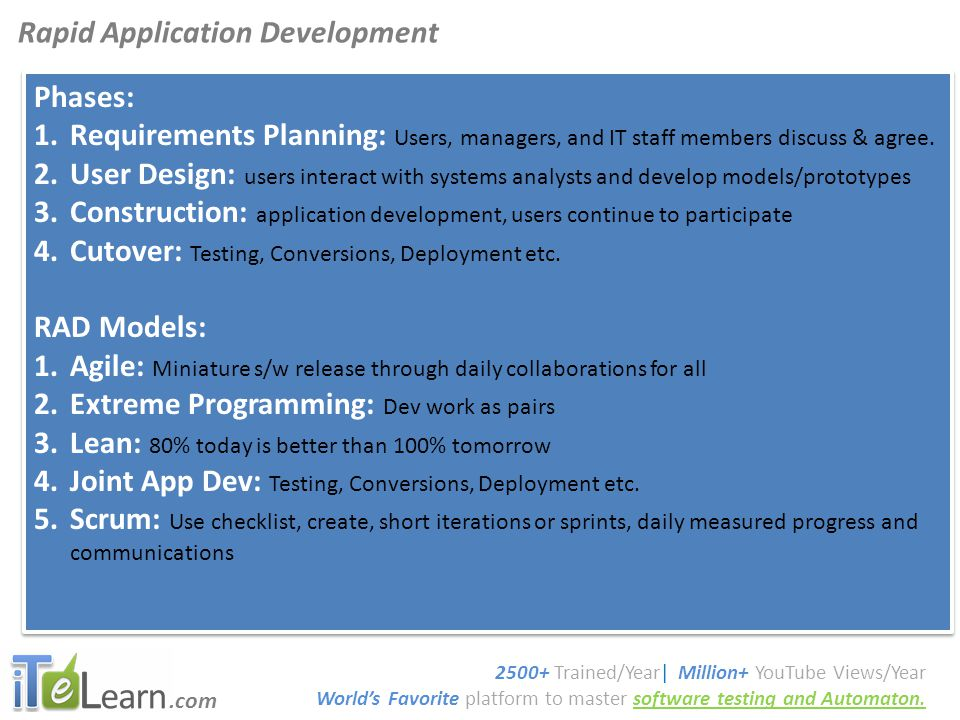 .com Software Testing Tutorials Phases: 1.Requirements Planning: Users, managers, and IT staff members discuss & agree.