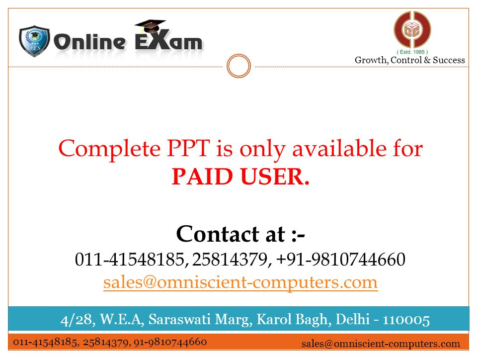 Complete PPT is only available for PAID USER.