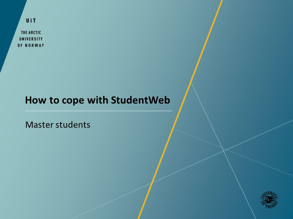 How to cope with StudentWeb Master students