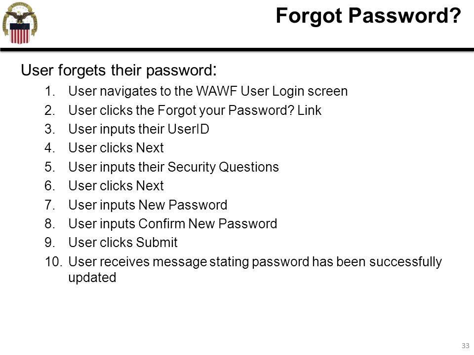 33 Forgot Password.