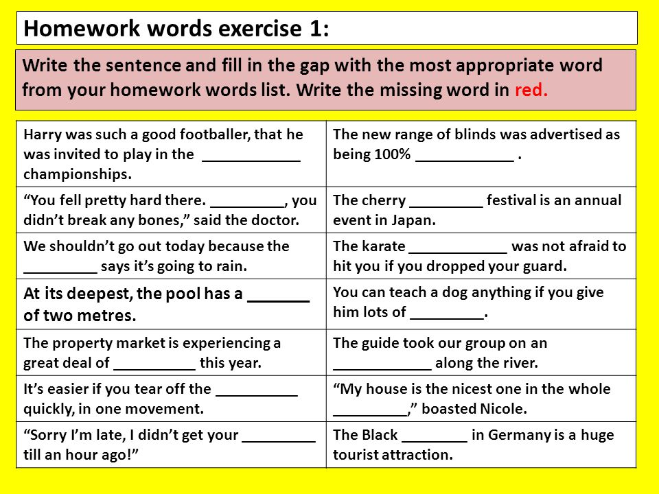 Homework words exercise 1: Write the sentence and fill in the gap with the most appropriate word from your homework words list.