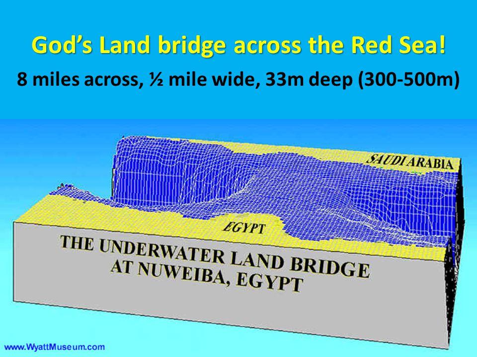 God's Land bridge across the Red Sea! 8 miles across, ½ mile wide, 33m deep (300-500m)