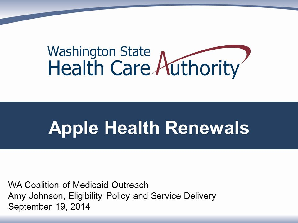 WA Coalition of Medicaid Outreach Amy Johnson, Eligibility Policy and Service Delivery September 19, 2014
