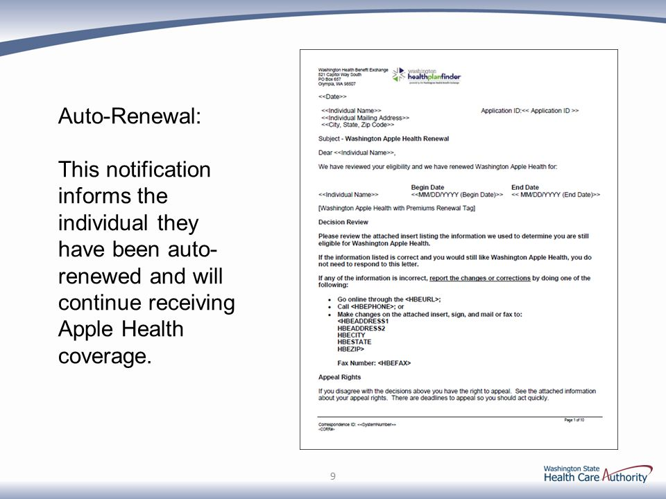 Auto-Renewal: This notification informs the individual they have been auto- renewed and will continue receiving Apple Health coverage.