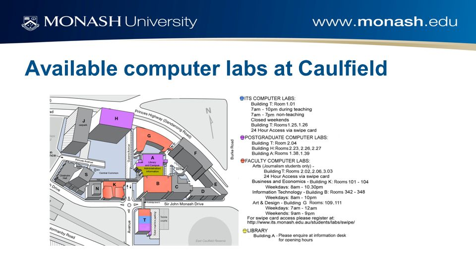 Available computer labs at Caulfield