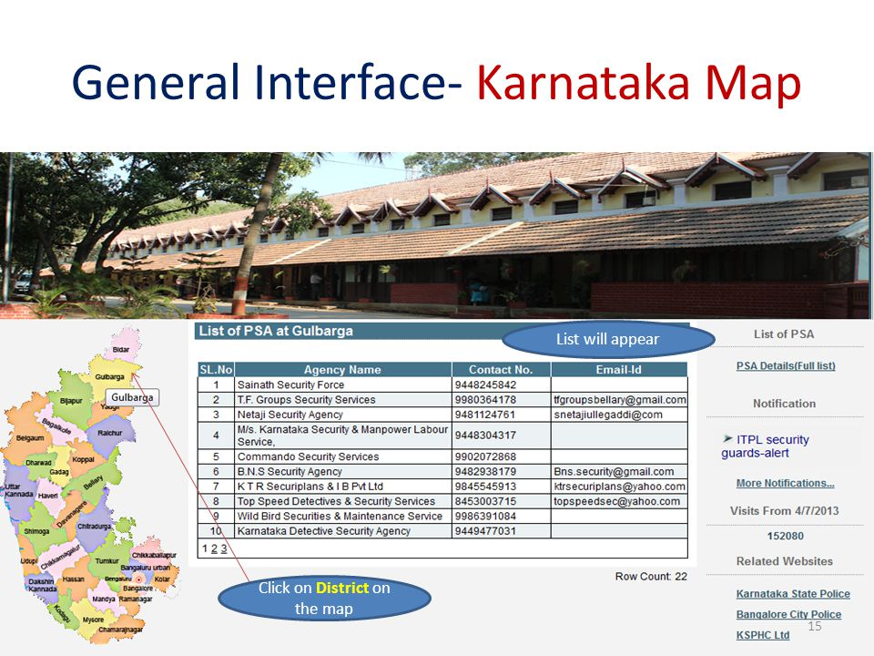 General Interface- Karnataka Map Click on District on the map List will appear 15