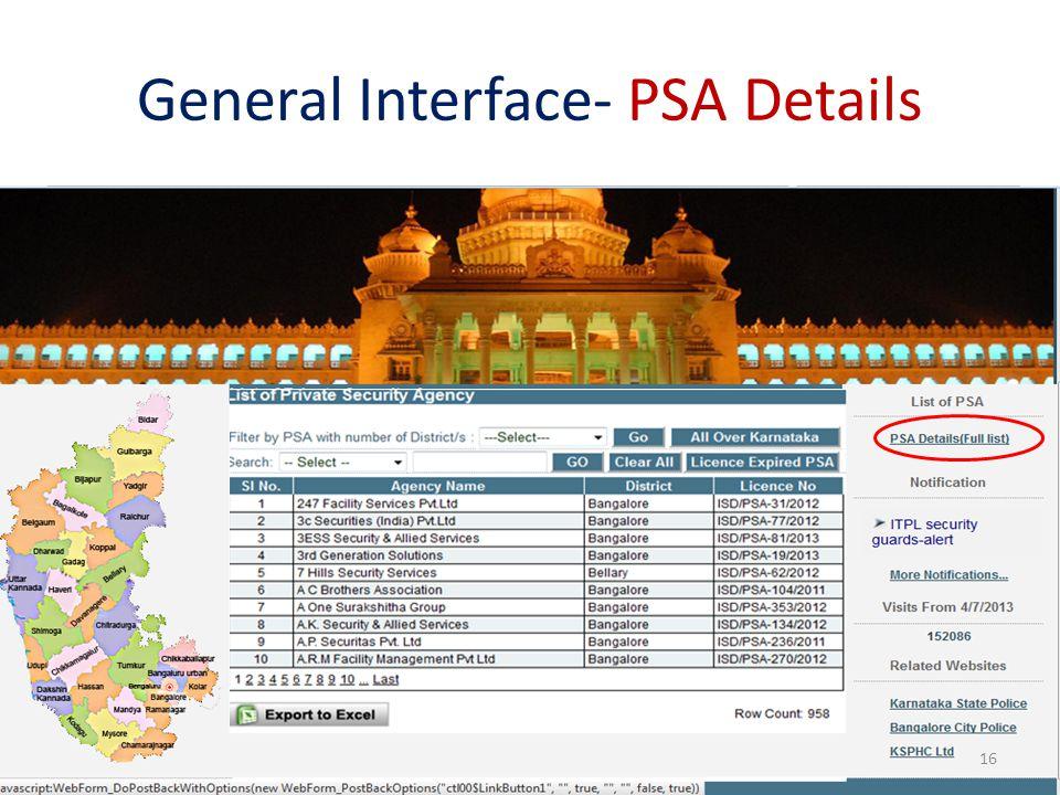 General Interface- PSA Details 16
