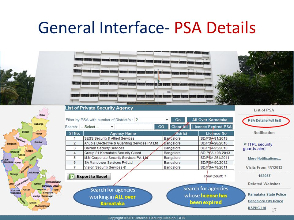 General Interface- PSA Details Search for agencies working in ALL over Karnataka Search for agencies whose license has been expired 17