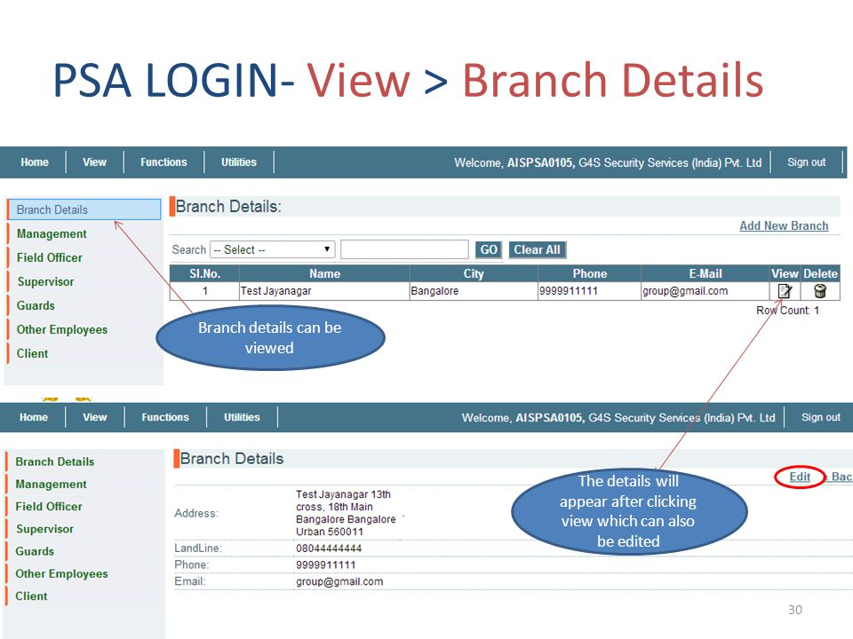 PSA LOGIN- View > Branch Details Branch details can be viewed The details will appear after clicking view which can also be edited 30