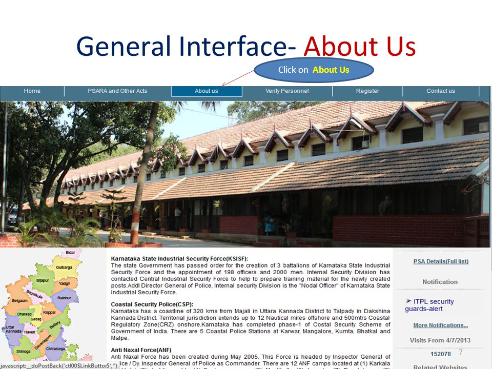 General Interface- About Us Click on About Us 7
