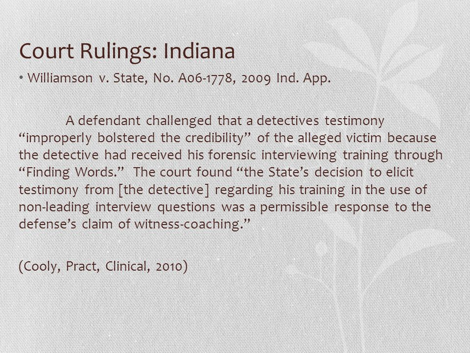 Court Rulings: Indiana Williamson v. State, No. A06-1778, 2009 Ind.