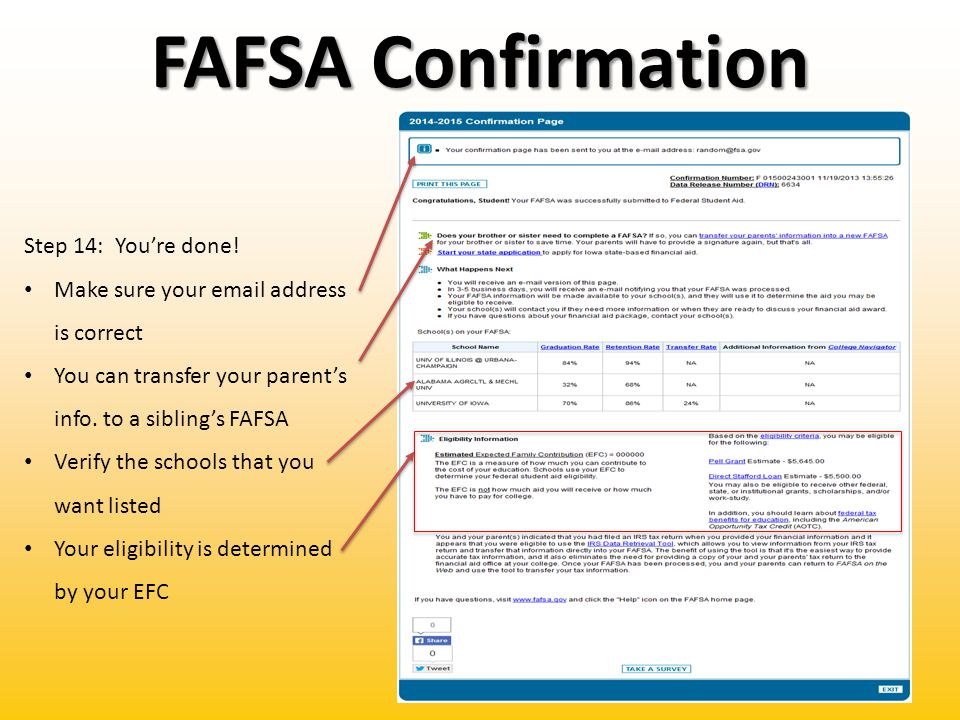 FAFSA Confirmation Step 14: You're done.