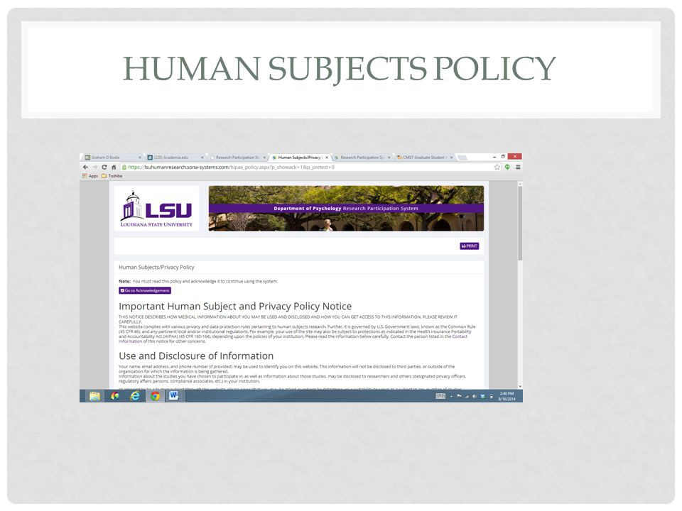 HUMAN SUBJECTS POLICY