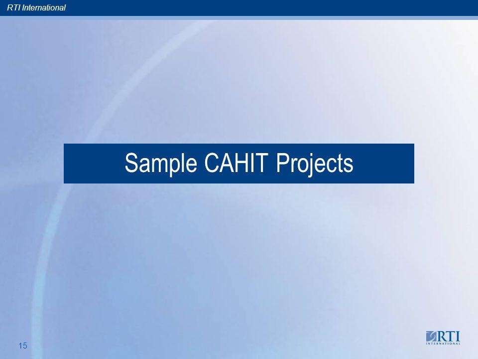RTI International 15 Sample CAHIT Projects