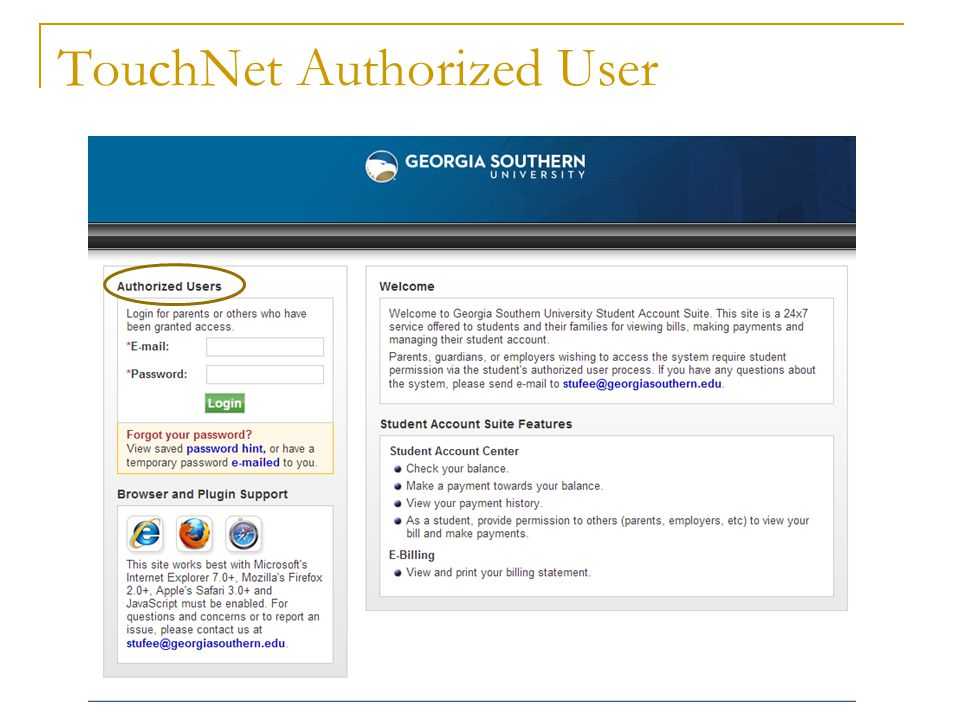TouchNet Authorized User