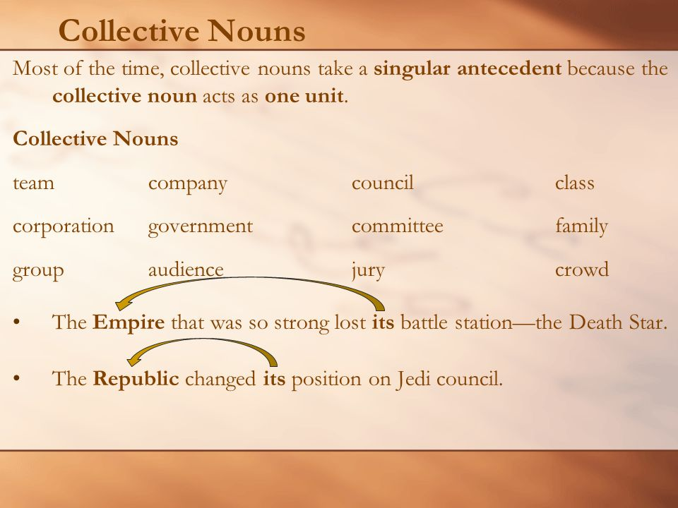 Collective Nouns Most of the time, collective nouns take a singular antecedent because the collective noun acts as one unit.