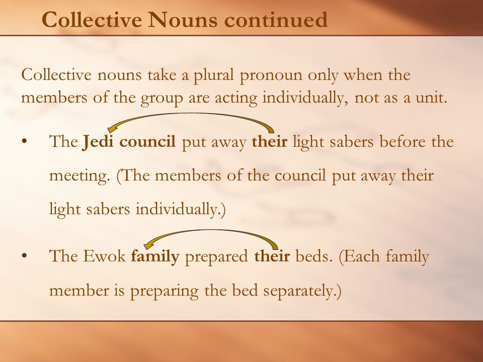 Collective Nouns continued Collective nouns take a plural pronoun only when the members of the group are acting individually, not as a unit.