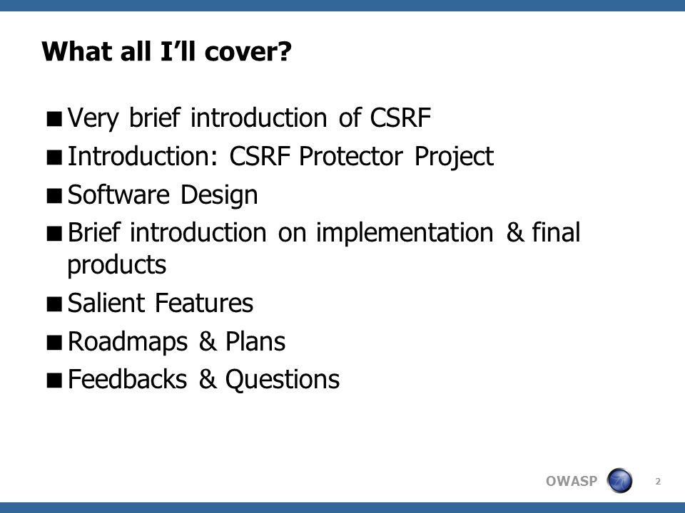 OWASP What all I'll cover.