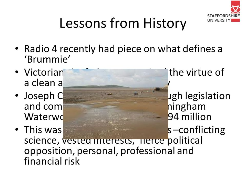 Lessons from History Radio 4 recently had piece on what defines a 'Brummie' Victorian city fathers recognised the virtue of a clean and reliable water