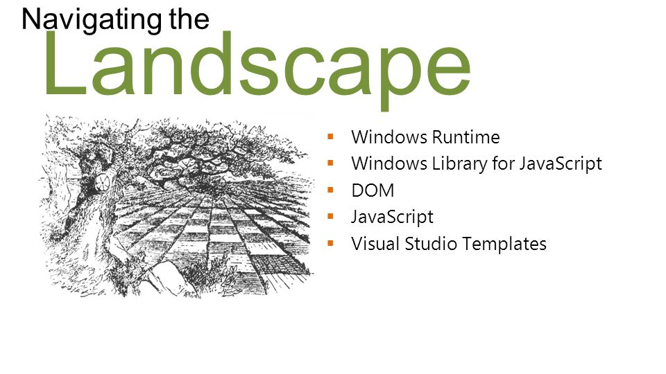Landscape Navigating the  Windows Runtime  Windows Library for JavaScript  DOM  JavaScript  Visual Studio Templates