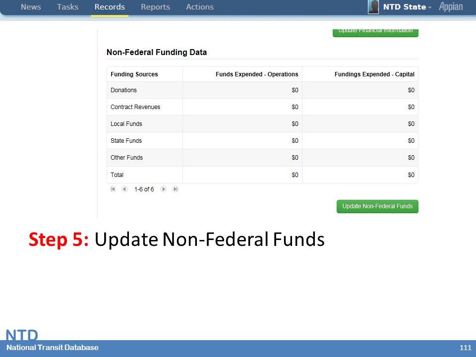 National Transit Database NTD National Transit Database Step 5: Update Non-Federal Funds 111
