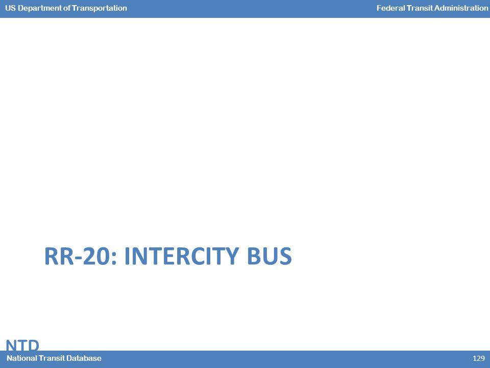 NTD National Transit Database US Department of TransportationFederal Transit Administration RR-20: INTERCITY BUS 129