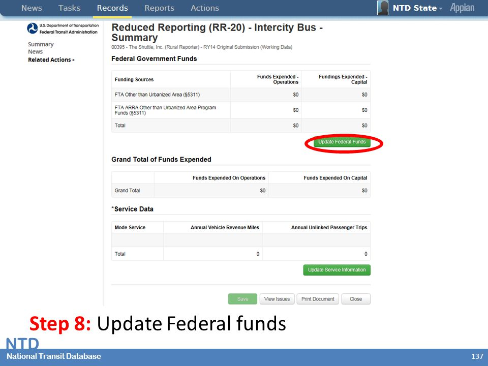 National Transit Database NTD National Transit Database Step 8: Update Federal funds 137