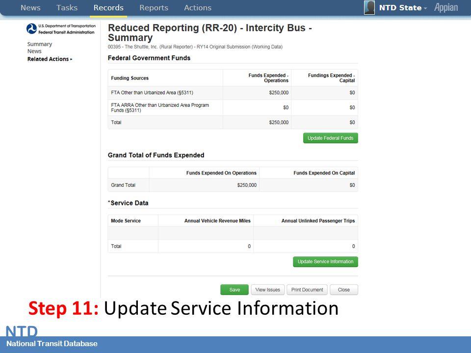 National Transit Database NTD National Transit Database Step 11: Update Service Information