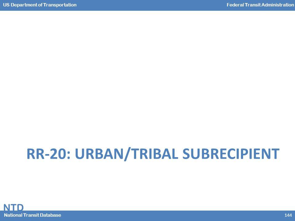 NTD National Transit Database US Department of TransportationFederal Transit Administration RR-20: URBAN/TRIBAL SUBRECIPIENT 144