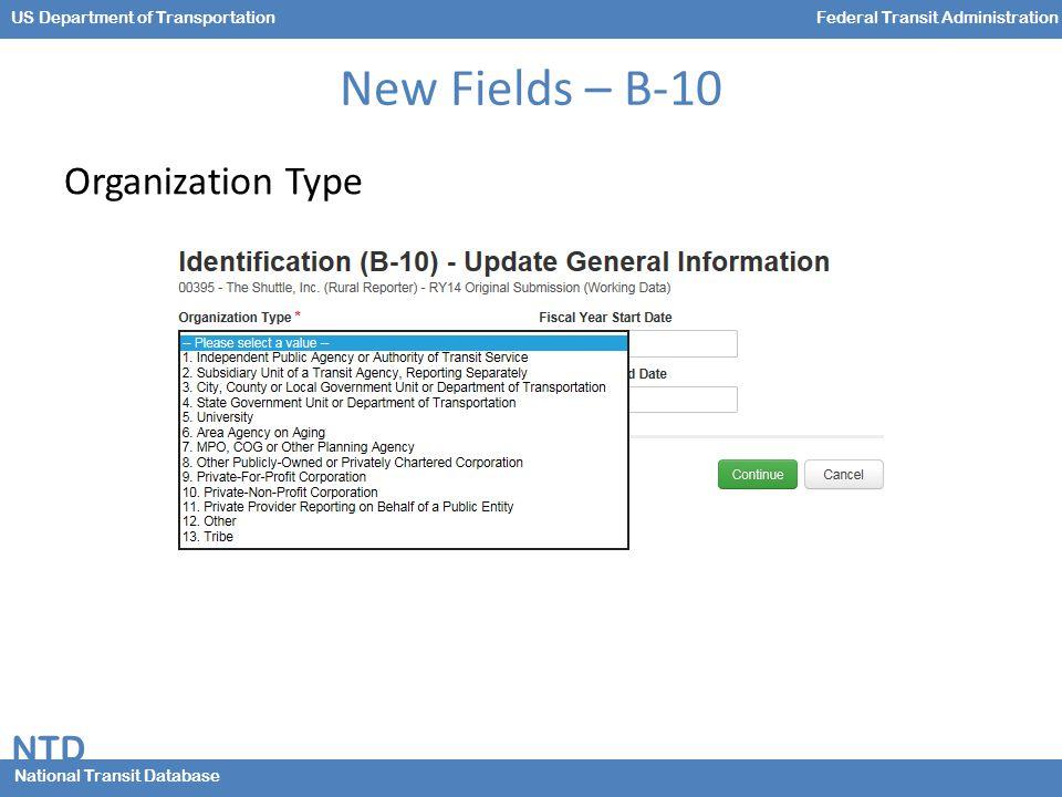 NTD National Transit Database US Department of TransportationFederal Transit Administration New Fields – B-10 Organization Type